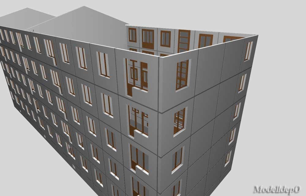Проект модели панельного 5-ти этажного жилого дома